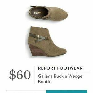 Report Galiana wedge booties suede green